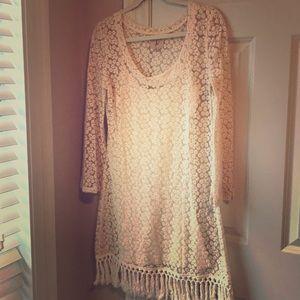 Beautiful cream crochet dress with fringe